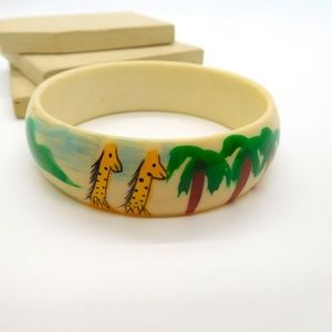 Retro Vintage Painted Giraffe Palm Tree Bracelet